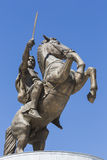 Krieger auf einer Pferdestatue Alexander der Große auf Skopje-Quadrat lizenzfreies stockbild