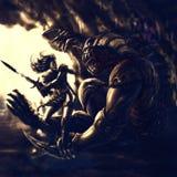 Krieger des Lichtes gegen einen Dämon von Dunkelheit lizenzfreie abbildung