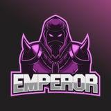 Krieger Esport-Logo Esport-Logoschablone mit dem Tragen eines Sturzhelms und der Kampfrüstung lizenzfreies stockfoto