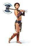Krieger - Frau mit einer Axt lizenzfreie stockfotos