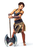 Krieger - Frau mit einer Axt lizenzfreies stockfoto