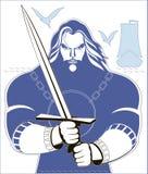 Kriegerischer Ritter mit Klinge in den Händen Stockbild