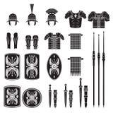Kriegers-Reihe - römischer Armeeausrüstungsvektor Stockbilder