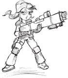 Kriegers-Soldat Sketch Stockbild