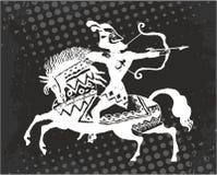 Kriegersbogenschütze zu Pferd stockfotos