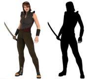 Kriegersfrau, die Samuraiklinge, Katana mit Schattenbild hält Stockfotografie