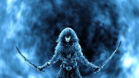 Kriegersfrau mit zwei angehobenen S?beln lizenzfreie stockfotos