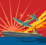 Kriegflugzeug, das ein aircraf in Angriff nimmt Stockbild