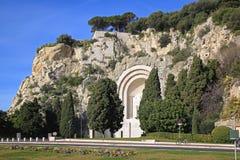 Kriegs-Denkmal in Nizza Stockbild