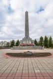 Kriegsdenkmal Obelisk zu den Befreiern der Stadt von Rzhev auf dem Hügel des Ruhmes Tver Region Lizenzfreie Stockfotos