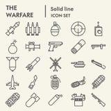 Kriegsführungslinie Ikonensatz, Waffensymbole Sammlung, Vektorskizzen, Logoillustrationen, lineare Piktogramme der Waffenzeichen vektor abbildung