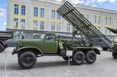Kriegsmaschineraketenartillerie BM-13 Nanometer Katusha Stockfoto