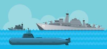 Kriegsschiff und Unterseeboot, Seitenansicht im Meer Stockbild