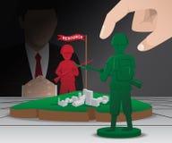 Kriegsstrategie-Brettspiel mit den grünen und roten Pfand Lizenzfreies Stockfoto