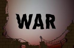 Kriegstext auf dem Hintergrund mit defekter Backsteinmauer und Stacheldraht, stock abbildung