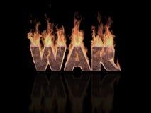 Kriegswort in den Flammen Stockfoto