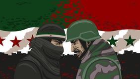Krig av Syrien. Fotografering för Bildbyråer