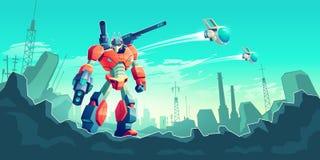 Krig med främmande begrepp för robottecknad filmvektor royaltyfri illustrationer