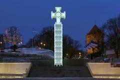 Kriga av självständighetsegerkolonn i Tallinn, Estland arkivbilder
