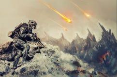 Krigar en främmande planet royaltyfri illustrationer