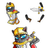 Krigare Cat Cartoon Character Royaltyfri Foto