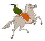 krigare för hästryggsamuraisvärd Arkivfoton