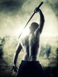 Krigare med hans Katana Fotografering för Bildbyråer
