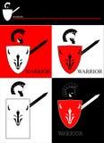 Krigare med skölden och svärdet royaltyfri illustrationer