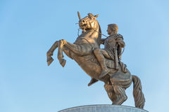 Krigare på hästen Alexander det stort i Skopje Royaltyfri Bild