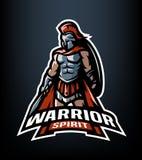 Krigareande Den Roman Warrior logoen royaltyfri illustrationer