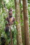 Krigaren av en Papuanstam av Yafi i traditionell kläder, prydnader och färgläggning Syften för forsar en bågskytt Royaltyfria Bilder