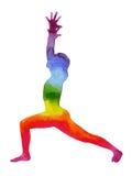 Krigaren poserar yoga, vattenfärgmålningchakra, starkt och powerf Arkivfoton