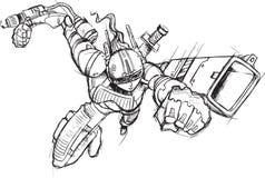 Krigaresoldat Sketch Arkivbild