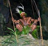 Krigarestam Yaffi i krigmålarfärg med pilbågar och pilar i grottan New Guinea ö Arkivbilder