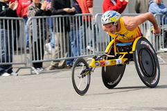 Krige Schabort. Second place in the 2008 Boston Marathon, one mile from the finish line Royalty Free Stock Photos