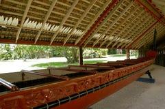 kriger den maori wakaen för kanot Arkivfoto