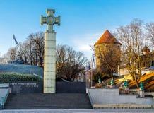 Kriget av självständighet Victory Column i Tallinn, Estland fotografering för bildbyråer