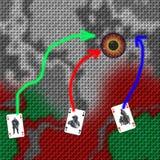 Krigföreningen Krigstrategilek Arméutplacering på översikten Ace av hjärtor i strid Special enhet som slåss terrorister royaltyfria bilder