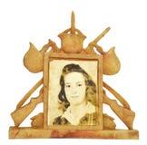 Krigfotoram med kvinnlign i mitt Royaltyfri Bild