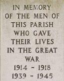 Krigminnesmärken för de dödade i storkriget och det andra världskriget Royaltyfria Bilder