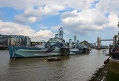 Krigsskeppet för HMS Belfast Royaltyfri Bild