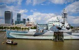 Krigsskeppet för HMS Belfast Royaltyfria Bilder