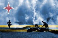 Krigtema med att blanda den Aruba flaggan Arkivbilder