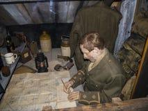 Krigutställning i det regements- museet i stadsmuseet i Lancaster England i mitten av staden royaltyfria foton