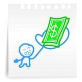 Krijg betaalde cartoon_on document Nota Stock Afbeeldingen