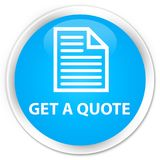 Krijg cyaan blauwe ronde knoop een van de citaat (paginapictogram) premie vector illustratie