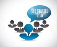 krijg de begonnen vandaag illustratie van het mensenbericht Stock Foto