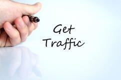 Krijg het concept van de verkeerstekst Stock Foto