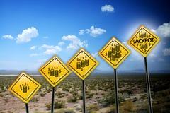 Krijg rijk of rijkdomconcept met Amerikaanse dollarsymbool op gele verkeersteken op wildernislandschap royalty-vrije stock foto