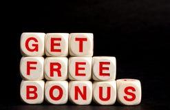 Krijg vrij bonussymbool voor verkoopbevordering Stock Foto's